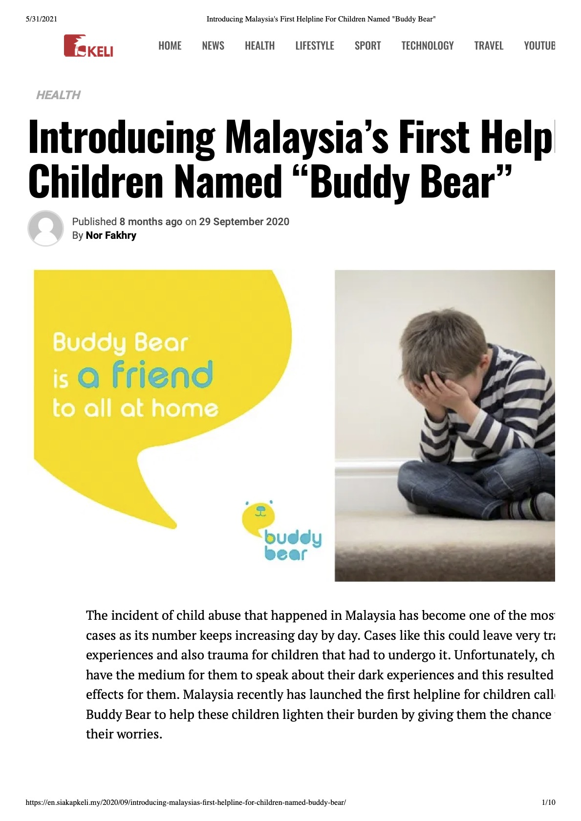 Introducing malaysia s first helpline for children named  buddy bear