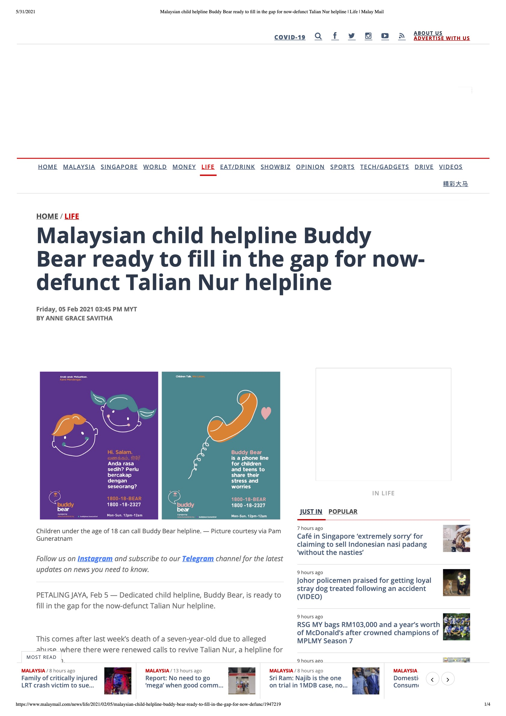 Malaysian child helpline buddy bear ready to fill in the gap for now defunct talian nur helpline   life   malay mail