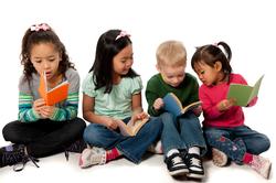 List logo children reading books